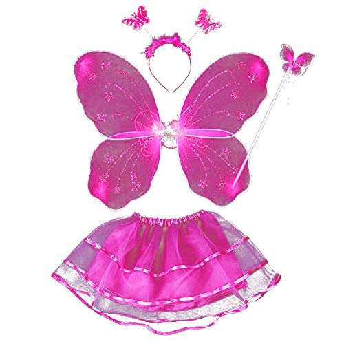 Kostüm Schmetterlings Flügeln Plüsch Mädchen - ESHOO Feenkostüm, Schmetterling, Kinder Kostüm, für Mädchen von 2-8 Jahren, Feenflügel, Stab, Haarreif und Tutu Rock, 4-teilig