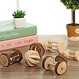 LA VIE 5 Stück Haustier Spielzeug für Kleintiere Naturholz Spielrolle mit Glocke Lustige Spielzeug für Ratte Hamster Chinchilla Meerschweinchen Kleintiere