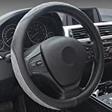 XuanMax Universal Funda de Volante Coche Cuero Microfibra Respirable Cubre Volante Piel Vehiculo Cubierta del Volante Envoltura Protectora Antideslizante Auto Empalme Golpear el Color Steering Wheel Cover 38cm - Gris