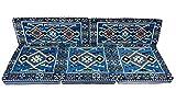 5 Teilige Set Sark Kösesi Orientalische Sitzecke, Sitzkissen Set Blau Komplett gefüllt