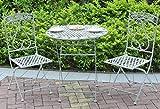GlamHaus Gartenmöbel-Set Bistro Terrasse klappbar 3-teilig Metall Garten Balkon Möbel Set Outdoor Tisch und Zwei Klappstühle Antik Grau Schöne Handarbeit Vintage Set Mailand