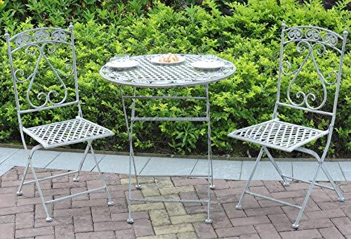 Eisen-bistro-stuhl (GlamHaus Gartenmöbel-Set Bistro Terrasse klappbar 3-teilig Metall Garten Balkon Möbel Set Outdoor Tisch und Zwei Klappstühle Antik Grau Schöne Handarbeit Vintage Set Mailand)