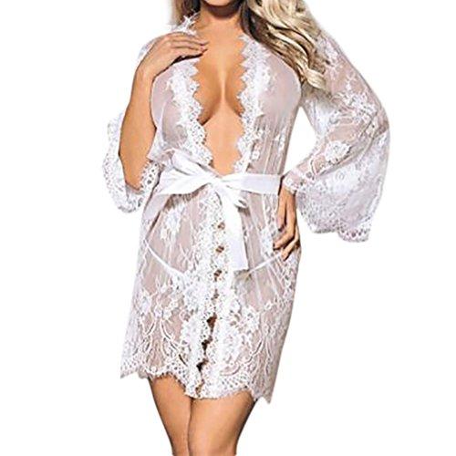 Damen Dessous Set FORH Frauen Sexy Spitze Babydoll Nachtwäsche Unterwäsche Spitzenmantel Reizwäsche Versuchung Offen Transparente Negligee Kleid + G-String Panties Erotic Lingerie (Weiß, L) -