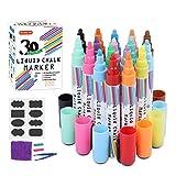 30 Couleurs Liquide Art Effaçable Chalk Marqueurs,avec 48 Tableau Chalk,1 Chiffon de Nettoyag,1 Pince à épiler,2 Réversibles tips pour Tableau Noir,Tableau,Fenêtre,Verre