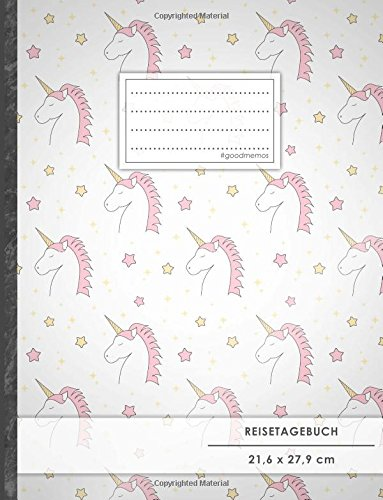 """Reisetagebuch: DIN A4, """"Unicorn Girls"""", 70+ Seiten, Softcover, Register, Kontaktliste • Original #GoodMemos Travel Diary • Reiselogbuch zum Selbstgestalten"""