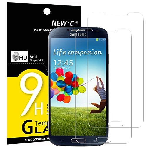 NEW'C PanzerglasFolie Schutzfolie für Samsung Galaxy S4, [2 Stück] Frei von Kratzern Fingabdrücken & Öl, 9H Härte, HD Bildschirmschutzfolie, BildschirmschutzfolieSamsung Galaxy S4