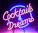 """Neonreklame-Schild aus Echtglas """"Cocktails und Dreams"""", für Zuhause, Bars, Clubs, Garagen, Wandmontage, Größe: 43,2x35,6cm"""