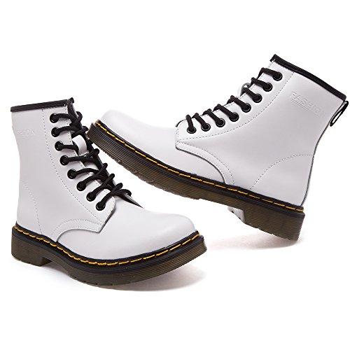 SITAILE Unisex-Erwachsene Bootsschuhe Derby Schnürhalbschuhe Kurzschaft Stiefel Winter Boots für Herren Damen A-Weiß