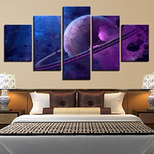 lsweia Holzrahmen/Druck Abstrakte Landschaften Leinwandbilder 5 Stücke Universum Lila Planeten Poster Modulare Wohnzimmer Wanddekor Kunst Malerei