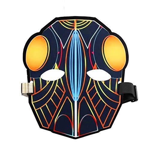 Yalatan Licht Maske, Sound Control Musik aktiviert Halbgesicht Party Glow Maske für Rave Party Supplies