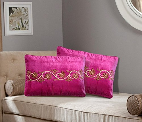 Rectangular Premium Floral Designed 2-Piece Cushion Cover Set (12x18 inch) -Paradise Pink