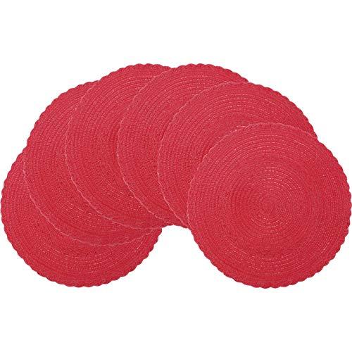 Pauwer 6er Set Rund gewebte Tischsets Waschbar Baumwolle Platzsets Abwaschbar Hitzebeständig Rutschfest Platzdeckchen für Küche,Durchmesser 38cm,Rot