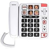 Swissvoice Xtra 1110 - téléphone Filaire pour Les séniors, 6 Photos mémoires, 2 mémoires directes, Amplification Audio(+30dB), Sonnerie Extra Forte (85dB), Mains Libres - Blanc