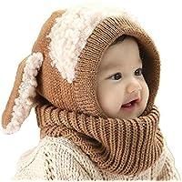 LFYPSM Sombrero De Invierno para Niños Niña Niño Gorro De Punto Conjunto De Bufanda Gorro De Bebé Sombrero Lindo, Brown