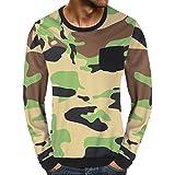 MEIbax Herren Casual Camouflage Tasche Langarm Klassische Sweatshirt Top Langarmshirt Oversize Longsleeve - Basic Langarm Shirt