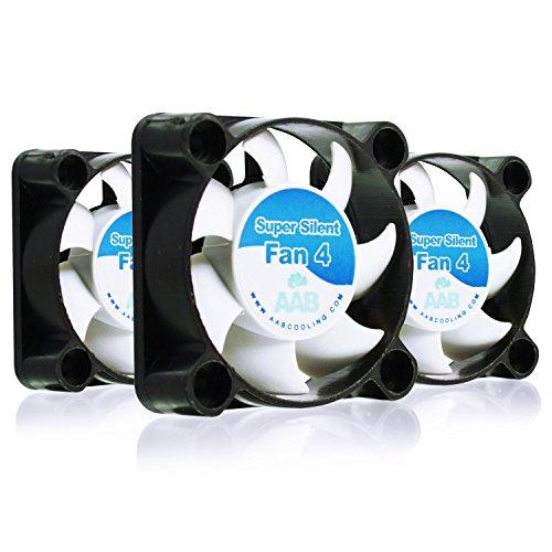 AAB Cooling Super Silent Fan 4 - Leise und Efizient 40mm Gehäuselüfter mit 4 Anti-Vibration-Pads - Mini Ventilator | Ventilator Silent | Lüfter 40mm | CPU Kühler | PC Fan - Wertpaket 3 Stück