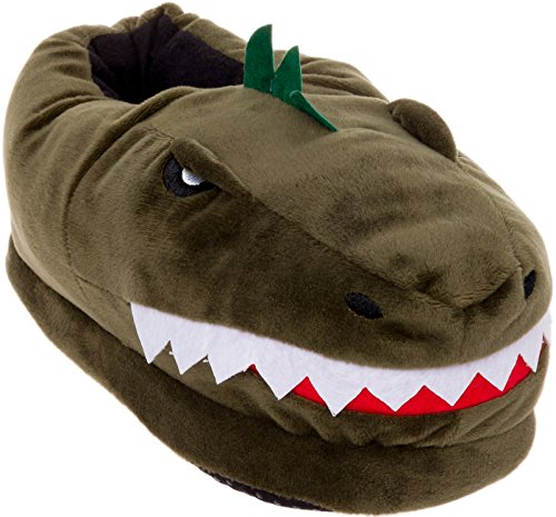 Silver Lilly Dinosaur Slippers - Plush T-Rex Slippers w/Memory Foam Support by