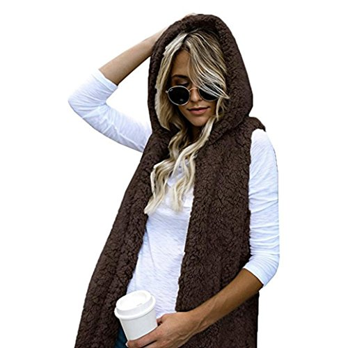 Femmes Manteau HUHU833 Gilet Hiver Chaud Hoodie Outwear Casual Manteau Fausse Fourrure Zip Up Sherpa Veste Café