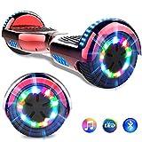 GeekMe Gyropode 6.5 Pouces Électrique Scooter Auto-équilibré Certifié UL 2272 certifié Hoverbordboard Bluetooth Intégré Lampes LED Coloré Clignotantes aux Roues