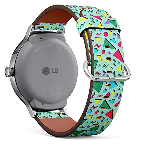 Retro 80s Triangles Pattern Leather Watch Strap for LG watches