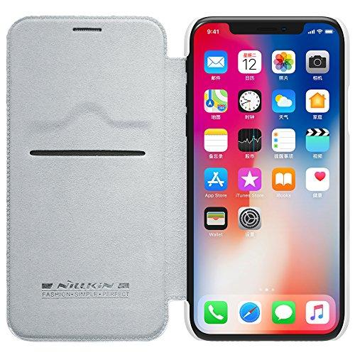 Meimeiwu Hohe Qualität Flip Up Leder Brieftasche Tasche Hülle - Handytasche Schale mit Karten-Slot Entwurf für iPhone X - Braun Weiß
