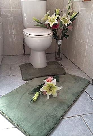 Memory Foam Bath mat and pedestial 2 piece set large50x80cm (Green)non- slip.absorbent