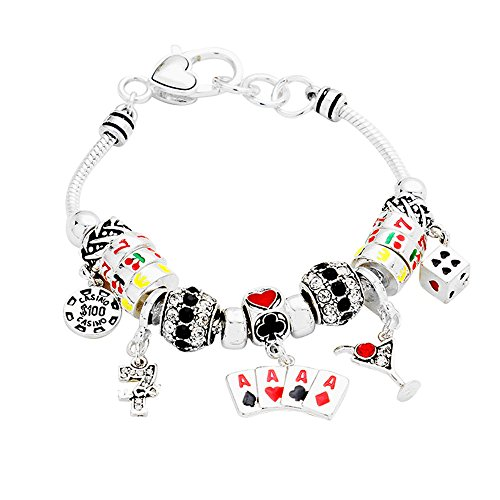 Lola Bella Geschenke Casino Poker Black Jack Ace Pik Thema Charme Armband w Geschenk-Box (Glas Ace)