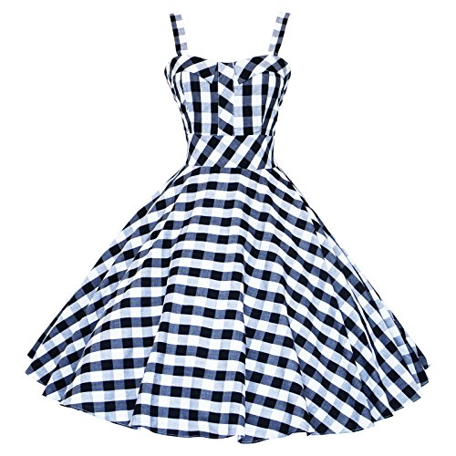 Maggie Tang Vestito da cocktail anni '50-'60, stile vintage Rockabilly Black Check (50s 60s Dress)