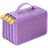 Imported 4 Layers Capacity Pencil Pen Case Travel Brush Makeup Storage Bag Purple