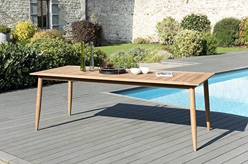 MACABANE 509500 Table à Manger Pieds Scandi Couleur Naturel en Teck Dimension 220cm X 100cm X 76cm