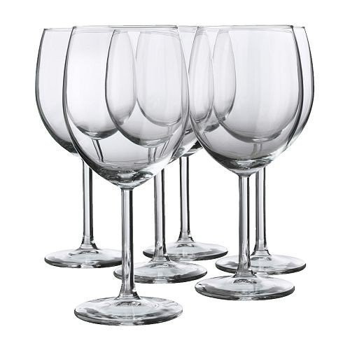 Ikea 6-er Set Rotweinglas SVALKA Gläserset mit sechs Rotweingläsern - mit 30cl Inhalt - 18cm hoch...