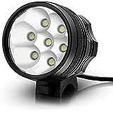 KingTop Linterna Frontal Luz Lámpara Cabeza para Bicicleta MTB con 11000mAh Recargable de Batería -Negro