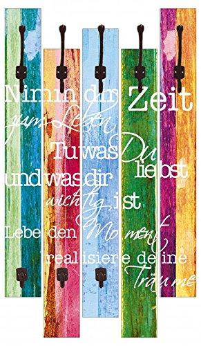 Artland Wand-Garderobe Artland 5 Holz-Paneele mit gusseisernen Haken Jule Nimm dir Zeit Bunt 114 x 68 x 2,8 cm