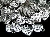 50x Made with love silber tibetischen Charm Anhänger coeur-valentine S Day Silber Antik Sicken Grundierung Schaffung Schmuck