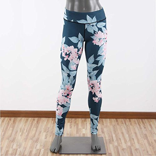 GWELL Damen Blumen Printed Sport Leggings Yoga Pants Strumpfhosen Fitnesshose Schwarz