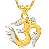#10: Meenaz Om Ganesha Ganpati Pendant,Locket Gold Plated Cz With Chain In God Pendant In Amreican Diamond For Man & Women GP286