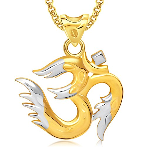 Amaal Om God Pendant With Chain For Men,Women Gold Plated In American Diamond Cz Jewellery GP0286