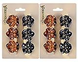 Haarklammer, Zoylink 12 Stück Haargreifer Vintage Mini Haarspangen Blumen Haarklammer Für Damen(Schwarz und Braun)