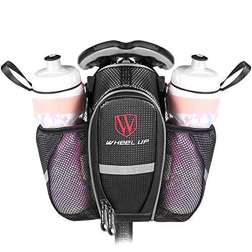 EletecPro Fahrrad Satteltasche, Fahrradtasche mit Zwei flaschenhalter Wasserdicht Reflektierend Sattel Tasche für Fahrrad Mountainbike Rennrad