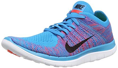 Männer Nike Laufschuhe 15 (Nike Sneaker Free 4.0 Flyknit Blau/Koralle EU 45 (US 11))