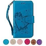 Samsung S5 Hülle, CXTcase Galaxy S5 Neo Handyhülle PU Leder Tasche Flip Case Wallet Brieftasche Silikonhülle Schutzhülle Magnet Stand für Samsung Galaxy S5 / S5 Neo Blumen Schmetterling Blau
