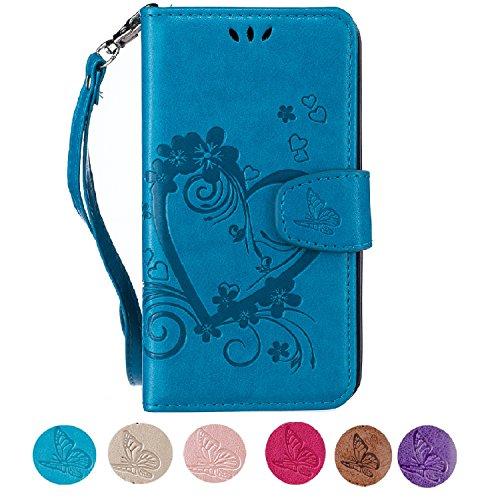 Samsung S5 Hülle, CXTcase Galaxy S5 Neo Handyhülle PU Leder Tasche Flip Case Wallet Brieftasche Silikonhülle Schutzhülle Magnet Stand für Samsung Galaxy S5 / S5 Neo Blumen Schmetterling Blau (Samsung Galaxy S5 Cases Für Mädchen)