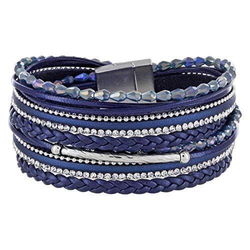 StarAppeal Armband Wickelarmband mit Perlen, Strass, Ketten und Flechtelement, Magnetverschluss Silber Matt, Damen Armband (Blau)