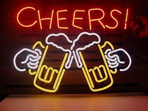 17X14 Zoll Real Glas Prost Neonlicht Zeichen Bier Bar Pub Shop Club Garage Home Party Licht Zeichen (Cheers) ... (Led Schilder, Bier)