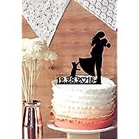 Personalizzato Data e color-bride e Sposo Silhouette