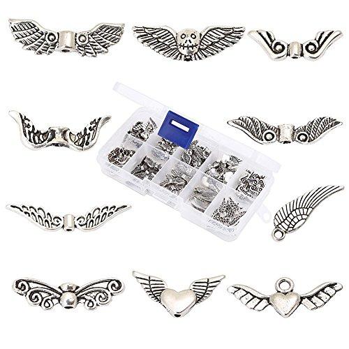 100 Stück gemischt 10 Arten tibetanischer Silber Engel Flügel Spacer Zwischenanhänger Metal Perlen für Schmuck Armband Basteln Halskette DIY mit Container Box