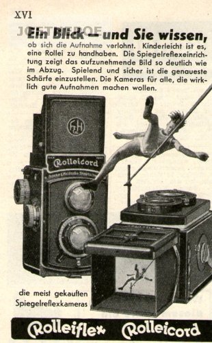 1936 - Anzeige / Inserat : ROLLEIFLEX-ROLLEICORD KAMERA / EIN BLICK... - Format 100x70 mm - alte Werbung / Originalwerbung/ Printwerbung / Anzeigenwerbung