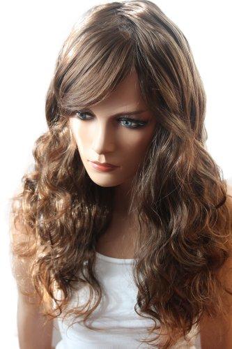 Haar Fake Kostüm (SuperSexy Perücke Wig (Haarteil Zopf) gewellt braunmix 65m)