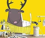 LONGYUCHEN Benutzerdefinierte 3D-Stereo-Seiden-Wandbild Tapete Tier Drucken Niedlichen Weißen Schaf Hase Geeignet Für Kinderzimmer Kindergarten Spiel Zimmer Dekoration Wandbild,290Cm(H)×480Cm(W)