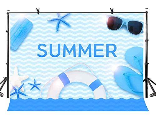 EdCott 7x5ft Sommer Hintergrund für Fotografie Cartoon Meer Strand Fotografie Kulisse für Kinder Thema Party Foto Hintergrund Requisiten LYZY0281